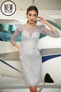 Rochie eleganta de ocazie midi din dantelă fină cu sclipici