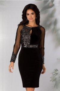 Rochie eleganta de ocazie neagra din catifea cu paiete si maneci lungi