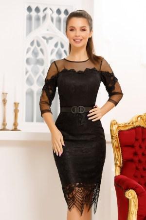 Rochie eleganta de ocazie neagra din dantela fina si margele