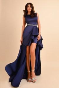 Rochie eleganta de seara lunga bleumarin asimetrica