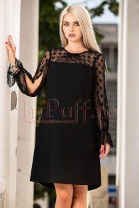 Rochie eleganta de seara midi neagra cu decolteu rotund