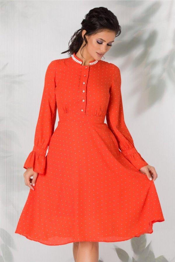 Rochie eleganta de zi cu imprimeu cu buline si guler tunica