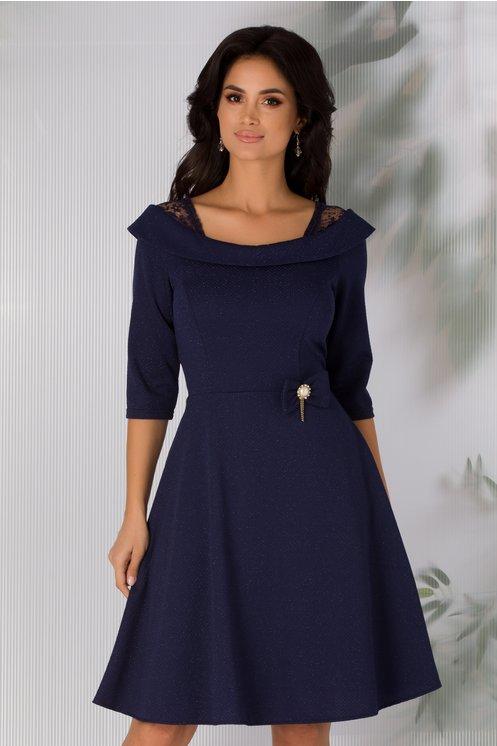 Rochie eleganta in clos bleumarin cu fir lurex si fundita