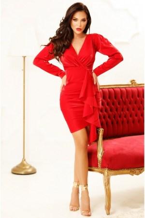 Rochie eleganta midi rosie cu volanese elegante si maneci bufante lungi