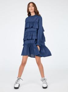 Rochie eleganta scurta albastra din bumbac cu volane si maneci lungi
