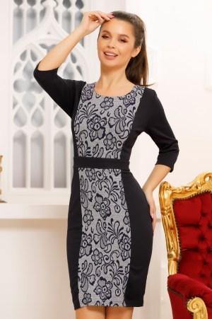 Rochie eleganta scurta cu imprimeu si maneci trei sferturi