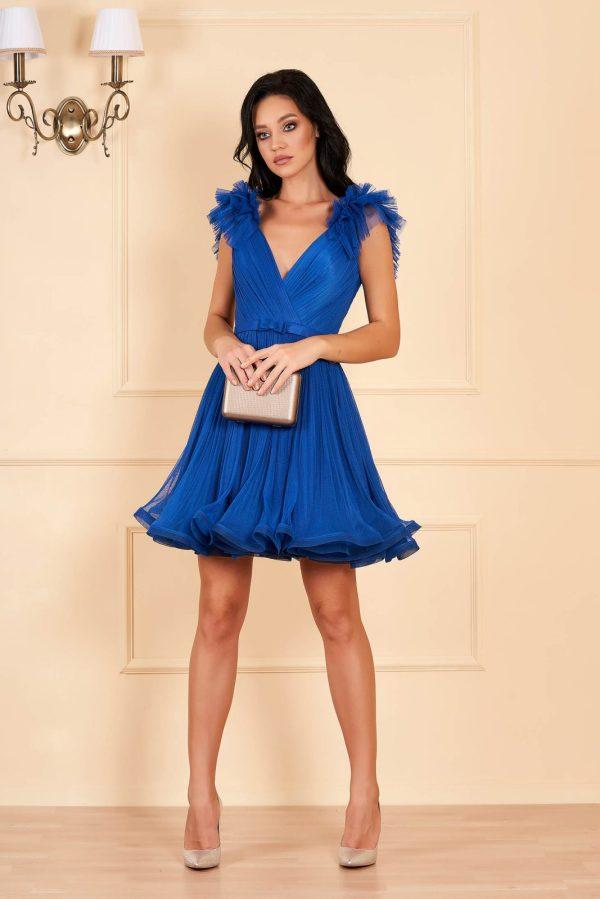 Rochie eleganta scurta de lux albastra in clos din tul cu decolteu adanc