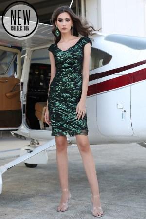 Rochie eleganta verde midi conica din paiete