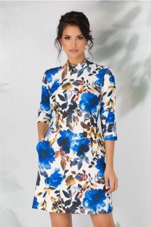 Rochie evazata alba cu imprimeuri florale viu colorate