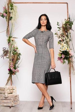 Rochie midi office eleganta din stofa in carouri cu maneci trei sferturi