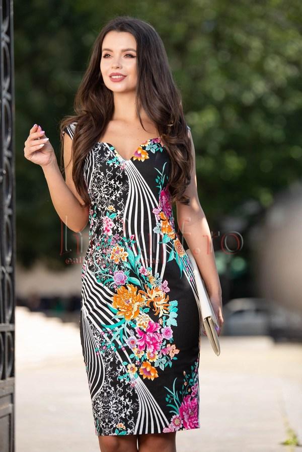 Rochie neagra conica cu imprimeu floral