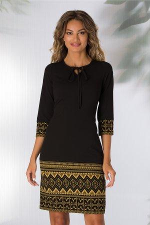 Rochie neagra cu imprimeu geometric galben mustar