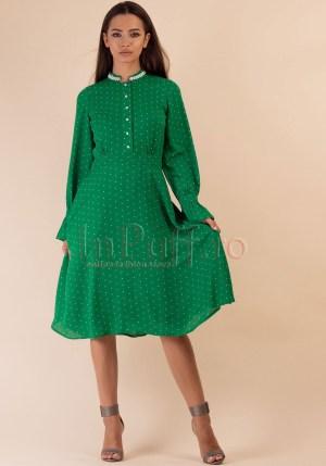 Rochie verde cu buline