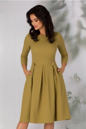 Rochie eleganta verde olive clos cu pliuri si maneci lungi