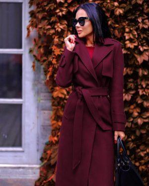 Palton dama bordo lung cu cordon si revere din stofa