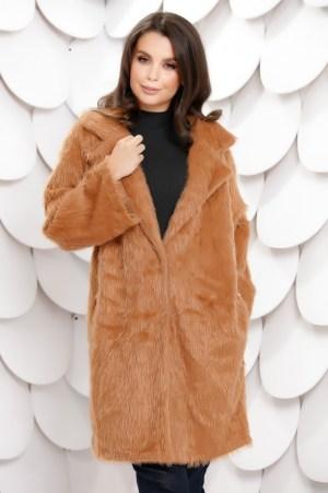 Palton dama caramiziu din blana artificiala