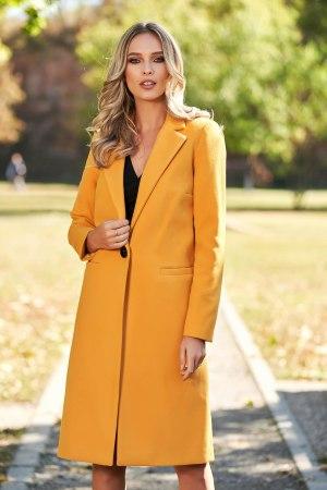 Palton dama mustar cu croi drept din lana captusit pe interior cu buzunare