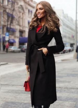 Palton dama negru lung drept cu cordon din stofa