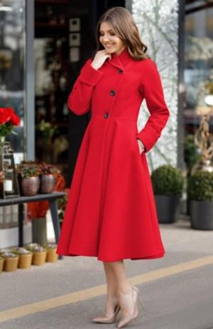 Palton dama rosu lung evazat elegant din stofa