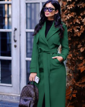 Palton dama verde lung cu cordon si revere din stofa