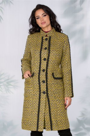Palton lung galben elegant cu imprimeu pixelat