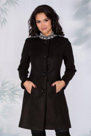 Palton negru elegant cu broderie pe umeri si guler si croiul cambrat