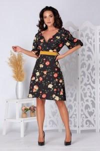 Rochie casual de zi eleganta midi cu imprimeu floral