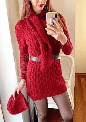 Rochie casual din tricot rosie cu fular si caciula