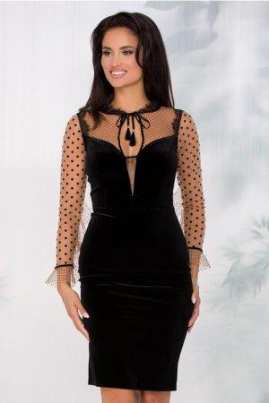 Rochie de ocazie din catifea neagra cu maneci din tull bej cu buline