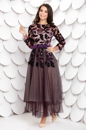 Rochie de ocazie eleganta din tulle cu broderie florala