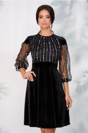 Rochie de ocazie eleganta neagra din catifea cu bust din tull si paiete