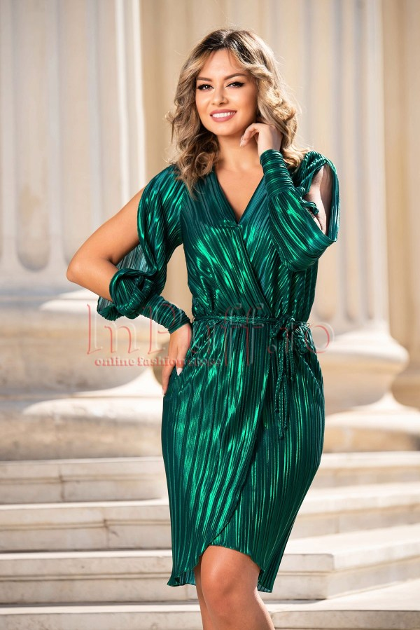 Rochie de ocazie eleganta plisata verde cu decolteu adanc in V