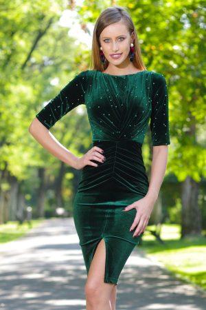 Rochie de seara din catifea verde