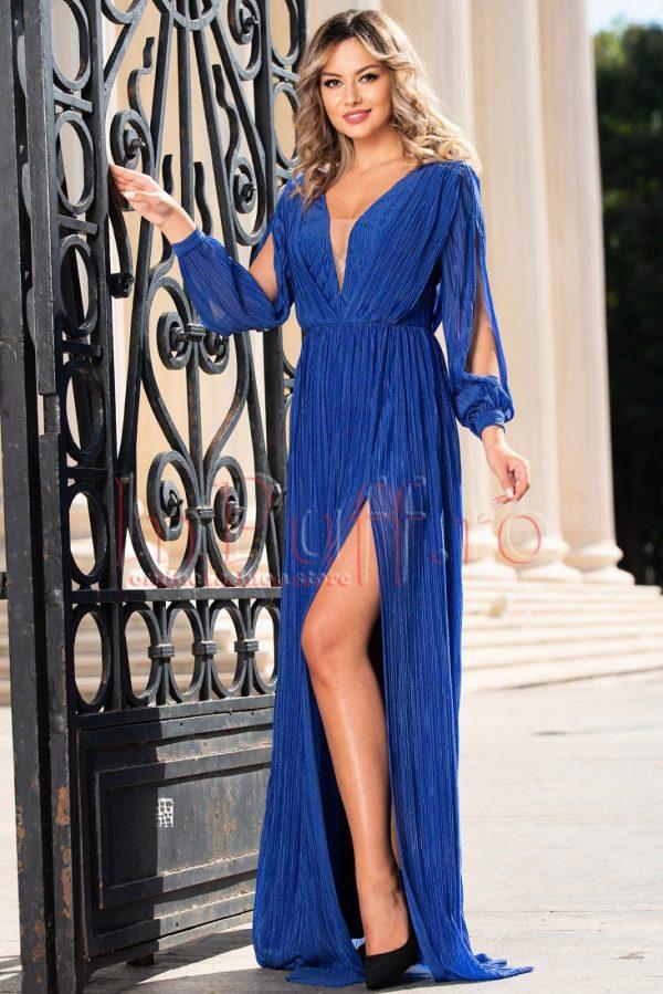 Rochie de seara lunga albastra plisata cu decolteu adanc in V