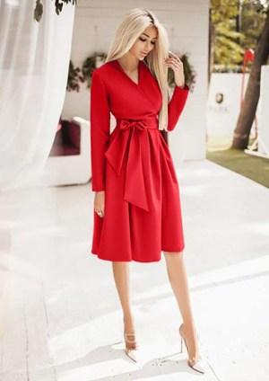Rochie de zi scurta rosie petrecuta cu cordon din barbie