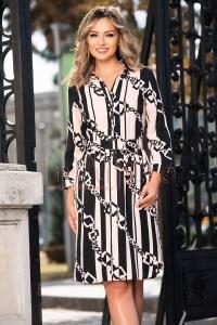 Rochie eleganta de zi midi cu imprimeu si maneca trei sferturi