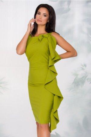 Rochie eleganta midi conica verde crud cu funda maxi