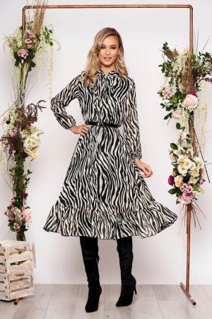 Rochie eleganta midi in clos cu maneci lungi si elastic in talie