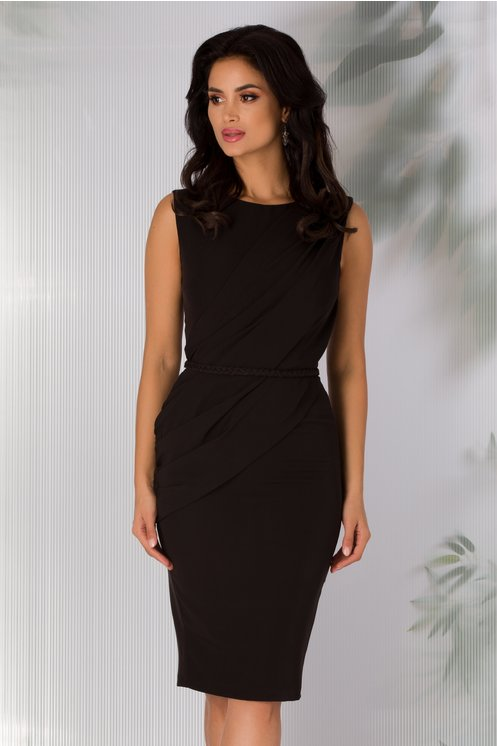 Rochie eleganta neagra cambrata cu cordon impletit in talie
