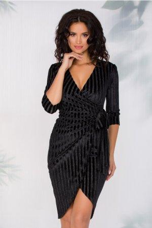 Rochie eleganta neagra cu insertii din catifea si fundita in talie
