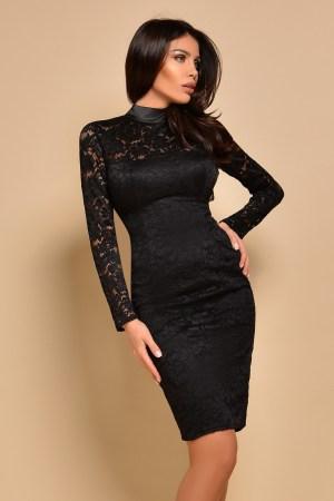 Rochie eleganta neagra mulata din dantela cu maneci trei sferturi