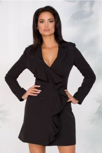 Rochie eleganta scurta neagra tip sacou cu volanas pe o parte