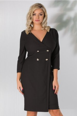Rochie eleganta tip sacou neagra petrecuta cu decolteu in V