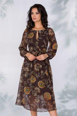 Rochie maro inchis eleganta cu imprimeu floral si buline negre
