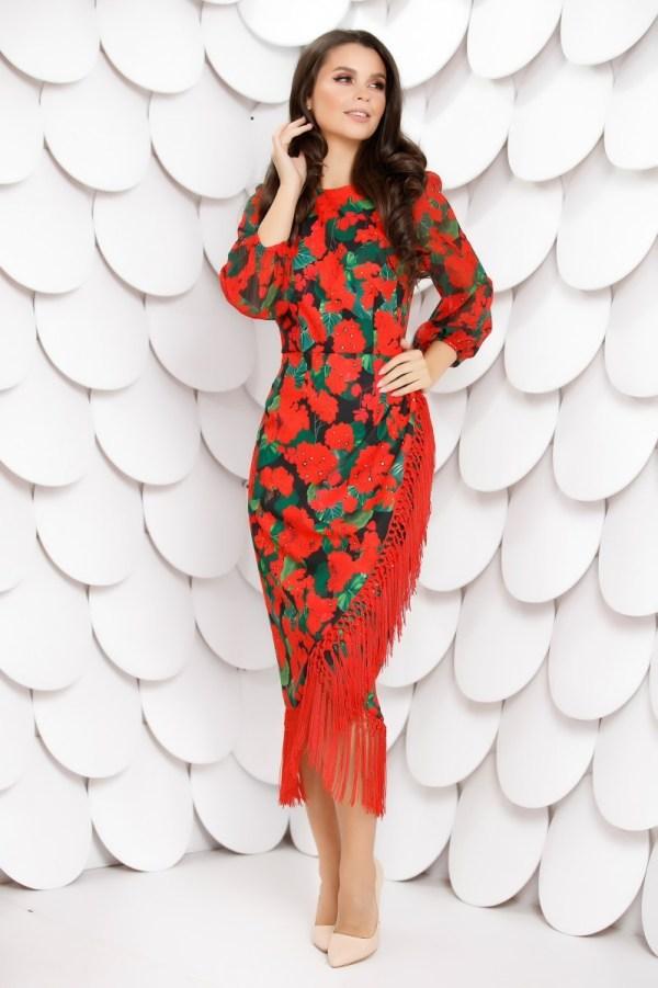 Rochie midi conica imprimeu floral cu franjuri
