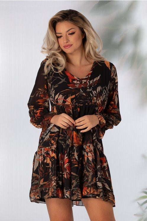 Rochie neagra cu imprimeu cu frunze in nuante de caramiziu