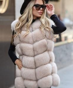 Vesta blana naturala dama vulpe polara bej cu fermoar
