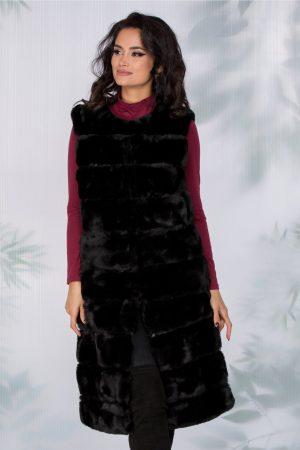 Vesta dama neagra din blanita cu insertii piele ecologica