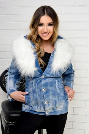 Bomber jacket de dama din denim cu blana artificiala la gluga