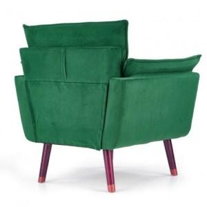 Fotoliu tapitat cu stofa cu picioare din lemn Rezzo Dark Green